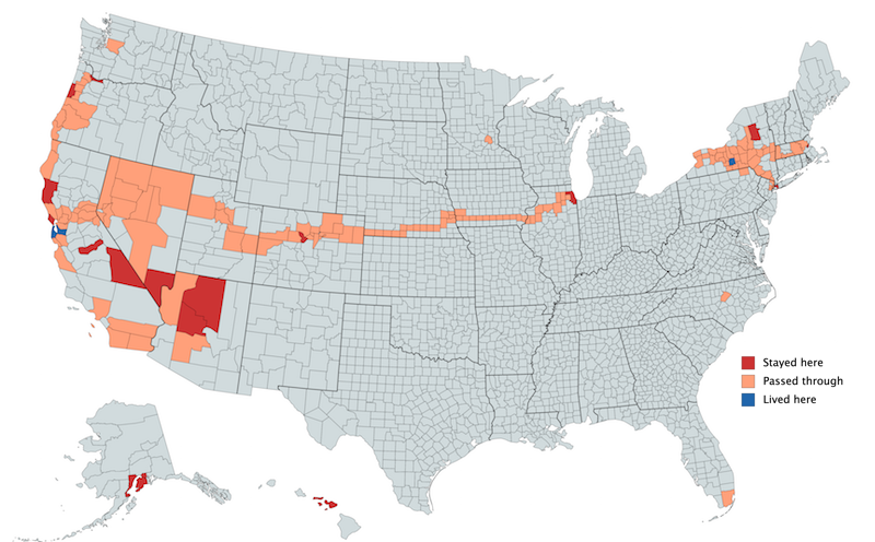 United States counties I have lived in (blue), stayed overnight in (red), and passed through (orange).